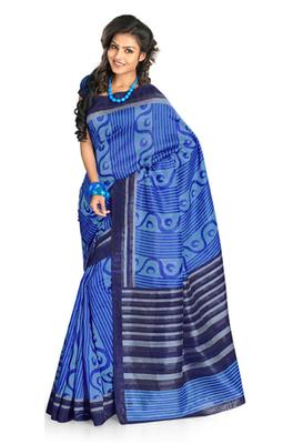 Hypnotex Art Silk Blue Saree Silkina 6104A