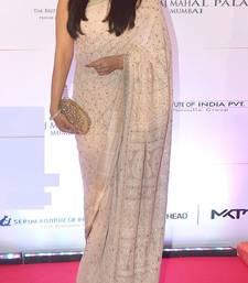 Buy White embroidered net saree With Blouse aishwarya-rai-saree online