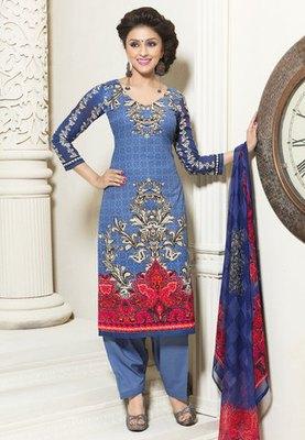 Hypnotex Cotton Blue Dress Materials  Bazzar 7351A