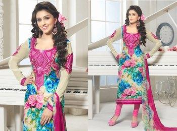 Hypnotex Cotton Cream Dress Materials  Bazzar 7352A