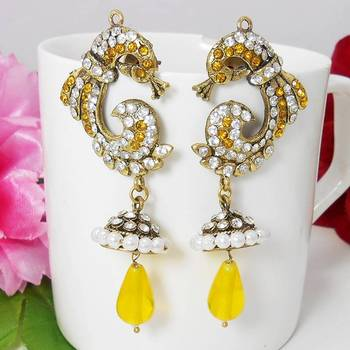 Victorian Reverse Peacock Drop Earring Supreme Yellow