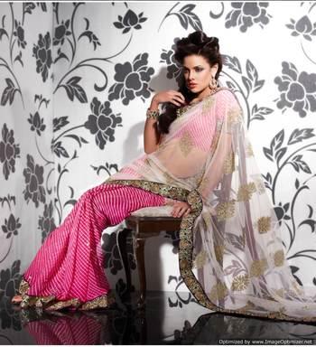 Pink Off white Net Georgette Saree SCA3611