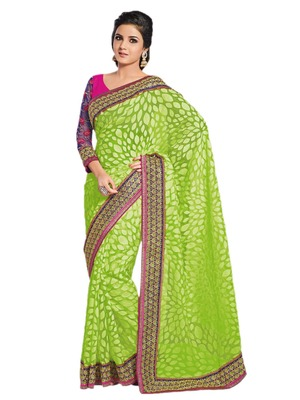 Hypnotex Green Art Silk Saree