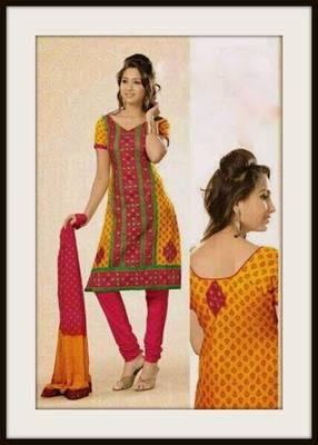 Embroidered cotton dress material ::Salwar kameez