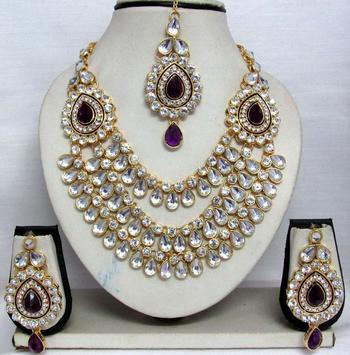 Purple stone three line Wedding Necklace set