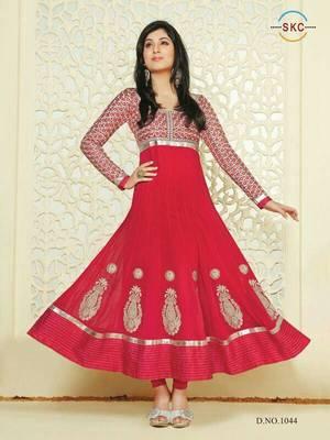 Deep Pink Colour Faux Georgette Anarkali Salwar Kameez By Fabfiza