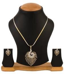 Buy Quail American Diamond Pendant set with chain diwali-jewellery online