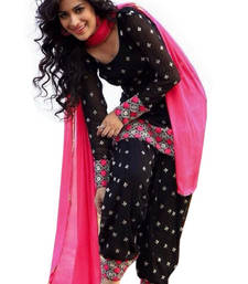 Buy Black cotton embroidered semi stitched salwar with dupatta punjabi-suit online