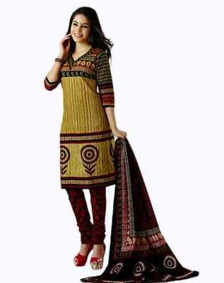 Salwar Studio Fawn & Red Cotton unstitched churidar kameez with dupatta AR-1119