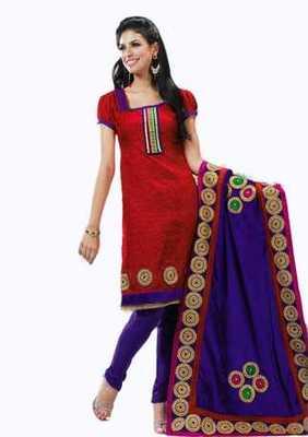 Salwar Studio Red & Voilet Banarasi Jacquard unstitched churidar kameez with dupatta Innaya-26005