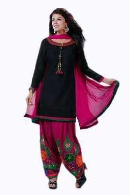 Salwar Studio Black & Pink Cotton Chikan unstitched churidar kameez with dupatta Mishree-23004