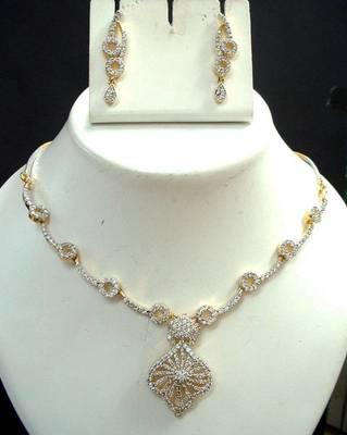 American Diamond 2 tone Jewelry set. avns03a A Muhenera collection