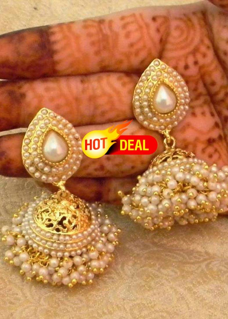 Buy Preety White Gold Plated Bandani Jhumka Earrings Online