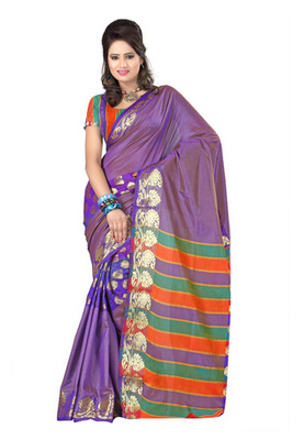 Fabdeal Purple Colored Banarasi Cotton Printed Saree