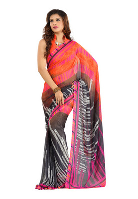 Fabdeal Orange Colored Colombus Chiffon Printed Saree