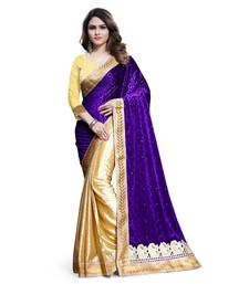 Buy purple embroidered velvet saree With Blouse velvet-saree online