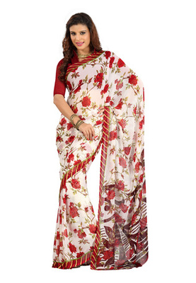 Fabdeal White Colored Colombus Chiffon Printed Saree