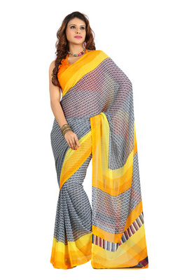 Fabdeal Black Colored Colombus Chiffon Printed Saree