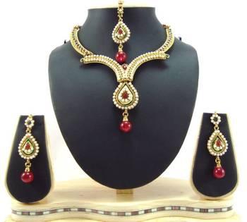 Polki designer ruby emerald pearl cz gold tone bridal necklace earring set t54