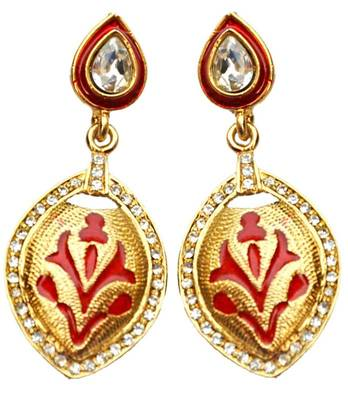 Maayra Red Indian Traditional Wedding Festival Drops Earrings