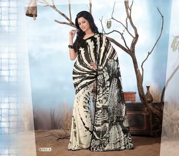 NeelFab Black Georgette  Printed Saree-6703-A