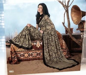 NeelFab Black Georgette  Printed Saree-6724