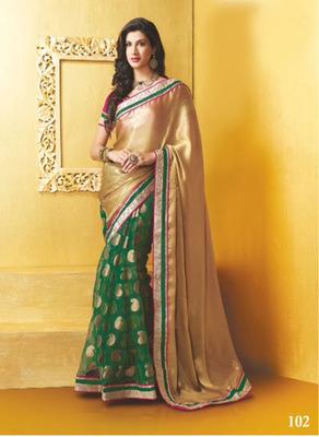 Casual Wear Green And Golden Georgette Designer Saree