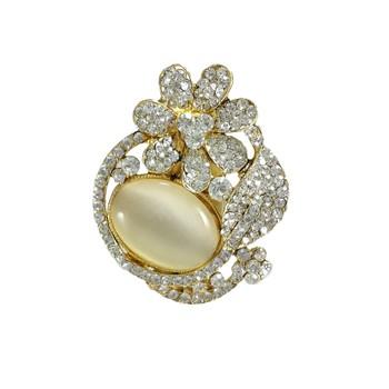 Flower Shape Shiny Crystal Rhinestone Brooch