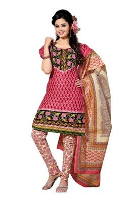 CottonBazaar Light Pink & Cream Colored Pure Cotton Dress Material
