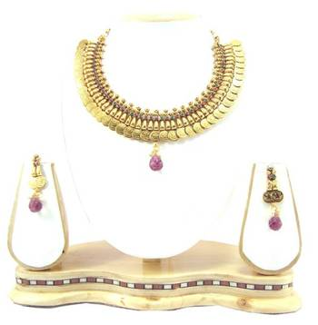 Traditional style temple jewellery ruby emerald pearl gold tone necklace earring set k56