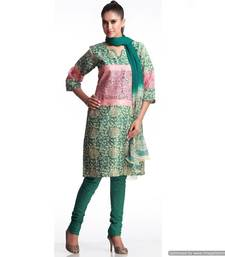 Buy Designer Chanderi Suit With Unique Patch Work salwars-and-churidar online