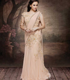 Buy peach embroidered lycra saree With Blouse lehenga-saree online