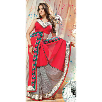 Red Designer Saree with Prints