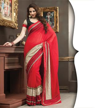 Red Designer Saree with Prints