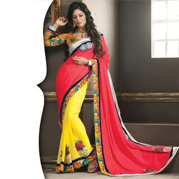 Red and Yellow Designer Saree with Prints