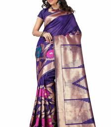 Buy purple woven art silk saree with blouse banarasi-silk-saree online