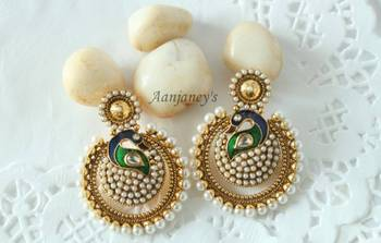 Peacock Meenakari Earrings Stones Pearls Jhumkas Studs Tops Danglers Drops Traditional Ethnic