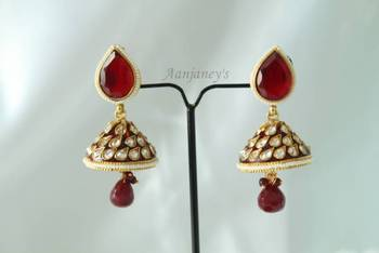 Designer Earrings Jhumkas Kundan Indian Traditional Trendy Ethnic Pearl Stone