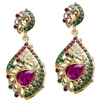 Dealtz Fashion Green & Purple Glam Festive Earrings
