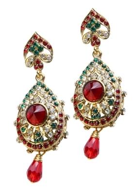 Dealtz Fashion Red & Green Teardrop Design Earrings