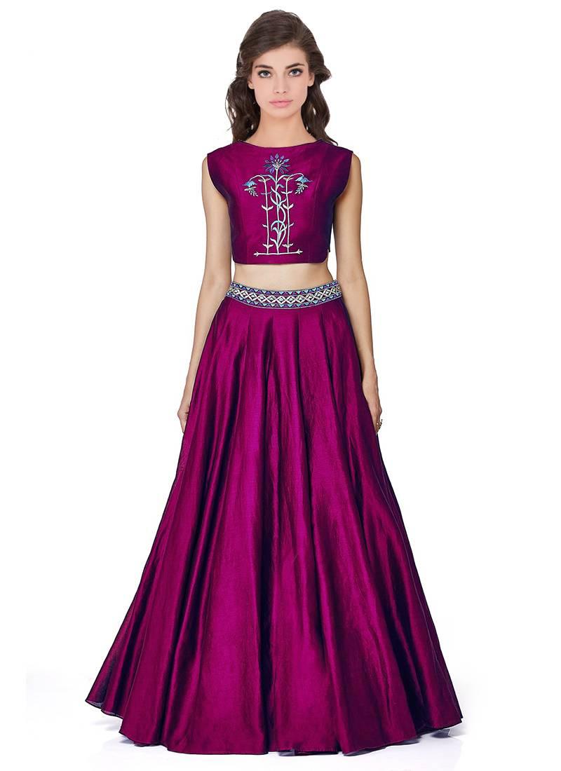 Buy Lehenga Choli By Voovilla Purple Online