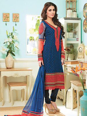 Hypnotex Blue Red Pure Georgette Sleees Chiffon Dress materials