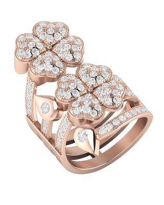 CZ Embellished Rose Gold Toned Statement Ring