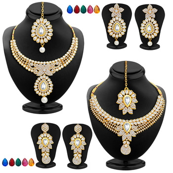 Royal Gold Plated AD Set of two Necklace Set with Set of 10 Changeable Stone Combo For Women