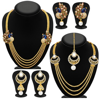 Fine Gold Plated Set of two Necklace Set Combo For Women