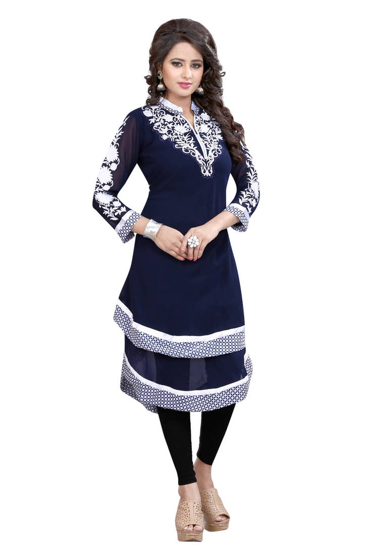 Buy Navy Blue Embroidered Georgette Umbrella Style Kurti