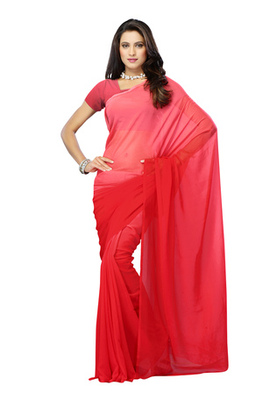 DyeFab Red Colored Georgette Plain Saree