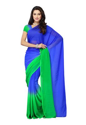 DyeFab Blue Colored Chiffon Padding Plain Saree