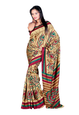 Fabdeal Cream Colored Crepe Printed Saree