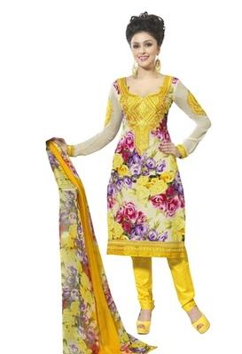 Triveni Fashionable Rose Print Cotton Salwar Kameez TSXBZSK7352B
